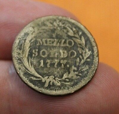 1777 Italian States 1/2 Mezzo Soldo Copper World Coin Italy Rare Theresia