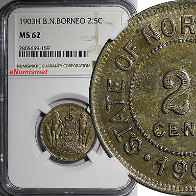 British North Borneo 1903 2-1/2 Cent NGC MS62 LIGHT TONED Heaton Mint RARE KM# 4