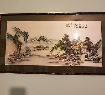 """Large Oriental Chinese / Japanese Silk Painting 18 x 33"""" on Bamboo Frame-signed"""