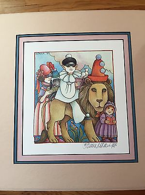 Tomie dePaola Signed By Artist Print  art illustration Matted Clown Lion