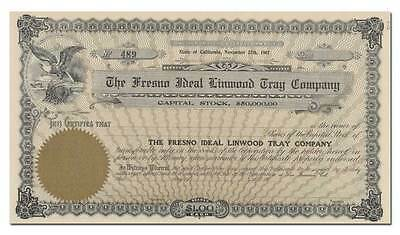 Fresno Ideal Linwood Tray Company Stock Certificate (Raisin Drying Trays)