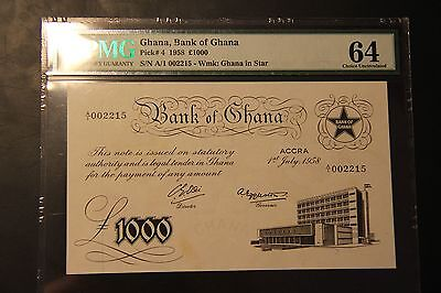 Ghana 1000 Pounds 1958 Pick 4 PMG Choice Uncirculated 64 UNC White Note Large