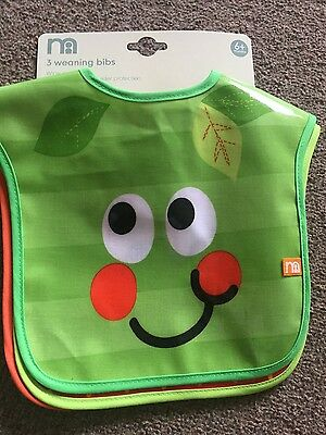 NEW Mothercare SET of 3 weaning BIBS 6+ months wipeable