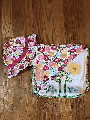 Gymboree Spring Blossom Girl NWT blanket Sunhat with Strap 3-6 New Baby Gift