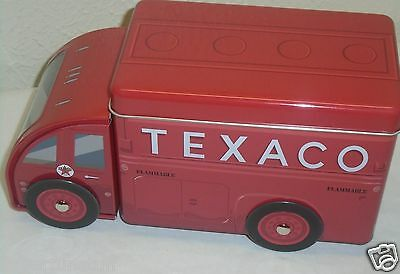 Texaco Tin Truck Storage Container with Lid Vintage Style Gas Truck