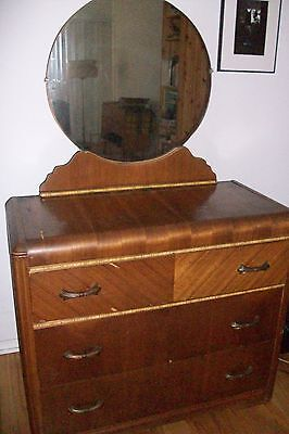 1930s Vintage  Art Deco Waterfall Dresser w/Mirror