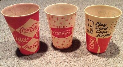 3 Vintage Paper Coca Cola Coke Wax Cups Diamond Design, Other