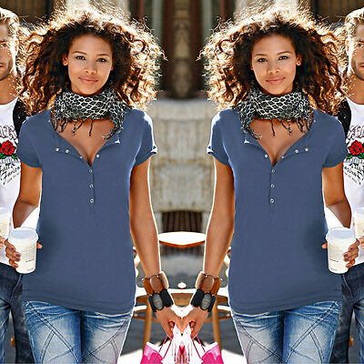 Fashion Women Loose Pullover T Shirt Short Sleeve Cotton Tops Blouse Blue Size S