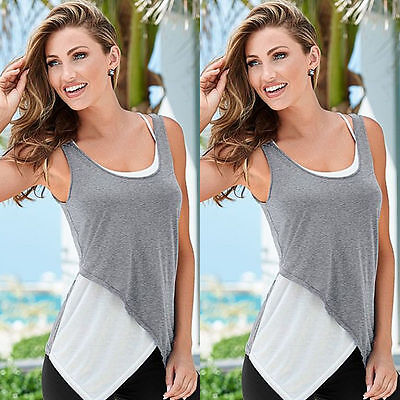 Women's Lace Neck Vest Sleeveless Shirt Blouse Summer Casual Loose Tops Size M