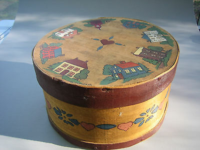 Vintage Folk Art Cheese Box Hand Painted Artist Signed Shaker?