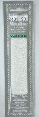 MADEIRA Mouline Stranded Cotton Embroidery Floss 10m Colour 2401 WHITE