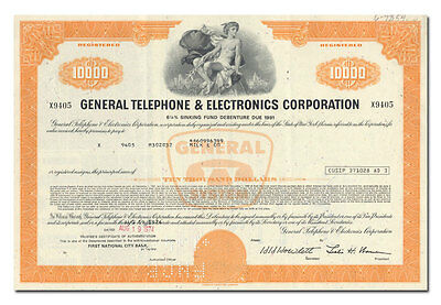 General Telephone & Electronics (GTE) Corporation Bond Certificate