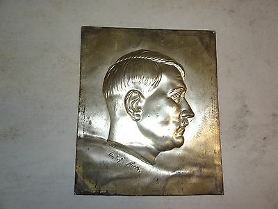Rare Old Vintage Metal Portrait Of Adolph Hitler 7 X 8 Inches Stamped Signature