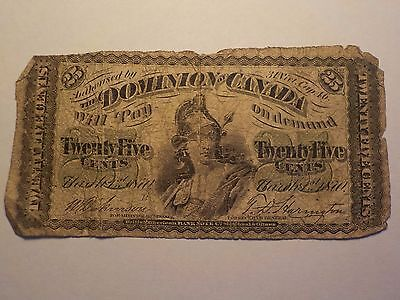 Dominion Of Canada 25 Cents Shinplaster Fractional Currency Note 1800's ?