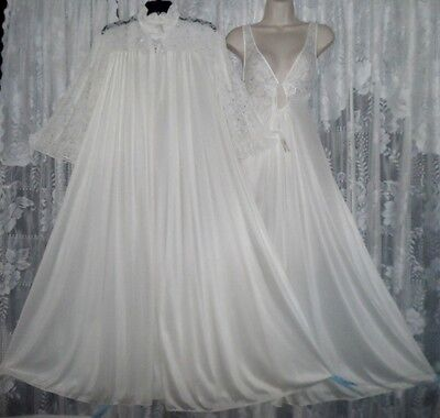 VTG Bridal White VAL MODE Peignoir Robe Keyhole Lace Nightgown Negligee Gown M
