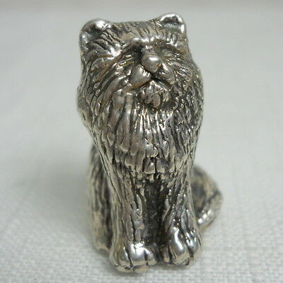 Vintage 3-D KITTY CAT Sterling Silver 925 Estate Pendant - Made Lost Wax Method