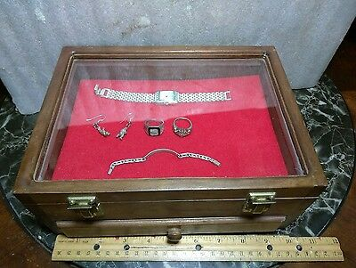 """A Vintage Wood & Glass Jewelry Display Case/organizer. 10"""" X 7.5"""" X 4.25"""" Inches"""
