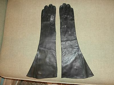 """Vintage Mark Cross Black Leather Ladies Gloves 15"""" Long Beautiful Condition"""