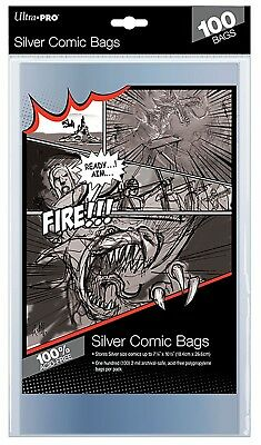 """Ultra Pro 100 Count Silver Size Comic Bags 7-1/4"""" X 10-3/8"""""""