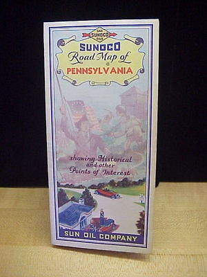 Vintage Sunoco Road Map Of Pennsylvania Pictorial Map c 1920's