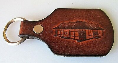 Vintage McDonald's Hand Tooled Leather Advertising Keychain Fob Key Ring