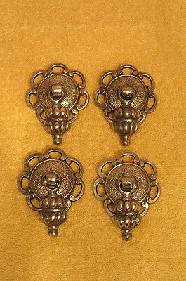 4 Vintage Ornate Brass Drawer Pulls Handles