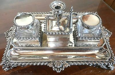 Large Sterling Silver double Inkstand Silversmith Charles Stuart Harris C1882