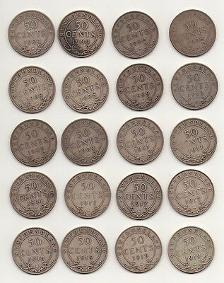 NEWFOUNDLAND - ROLL of 1904 - 1919 50 CENTS  - 20 COINS