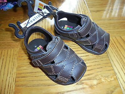 NEW Toddler Boy's Sandals Size 4 - Brown Faux Leather by Healthtex Cute & Cool