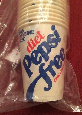 Vintage Diet Pepsi Free 4 Oz Wax Paper Cups Original 100 Count Bag