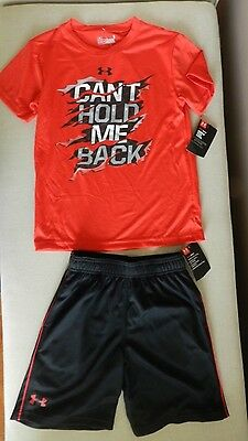 Under Armour Boy's  Heat Gear T shirt  & Shorts  sz 6 New  with tags