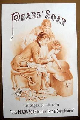 Large Vintage Advertising Trade Card - Pears' Soap - Front & Back w. Children
