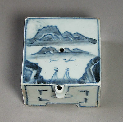 A Fine Blue and White Korean Han River Painted Water Dropper-19th C.