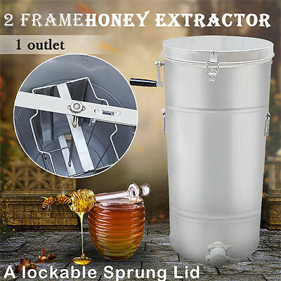 2 Frame Stainless Steel Honey Extractor Centrifuge Tool + Lid Beekeeper Supply