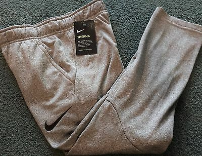 NWT Nike Boys Youth LG Gray/Black Embroider Swoosh Therma-Fit Sweat Pants YLG