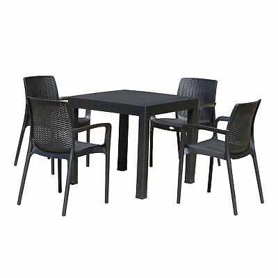 5pc All Weather Resin Patio Dining Set Garden Outdoor Chair Table Set Black