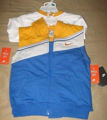 Nike Infant/Baby 3-Piece Hooded Vest/Shorts/Shirt Outfit/Set - 24 Months - NEW