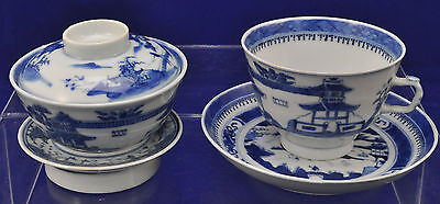 Antique Canton Blue & White Chinese Porcelain 2 Pc Gaiwan Gongfu Set 19th Cen
