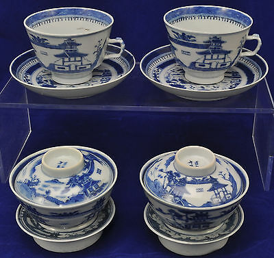 Antique Canton Blue & White Chinese Porcelain 4 Pc Gaiwan Gongfu Set 19th Cen