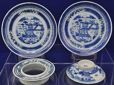 Antique Canton Blue & White Chinese Porcelain Cupless Gaiwan Set 19th Cen
