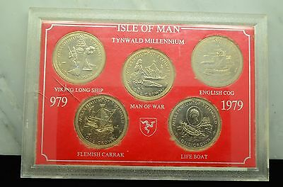 1979 Isle Of Man Tynwald Millennium Five Coin Crown Collection Display