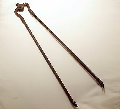 As Is Rusty Antique Iron Fireplace Tongs Hand Ends Missing Finial Hearth Tool