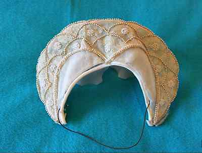 Rare Antique Lace Wedding Headpiece w/ Pearls