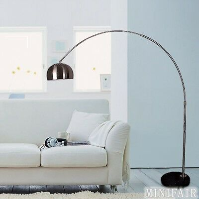 Silver Chrome Arco Style Arc Floor Lamp With Marble Base And Lampshades Light