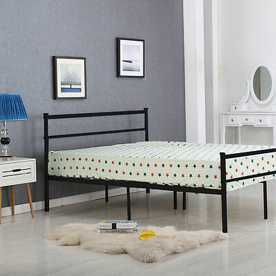 Strong Metal Bed Frame 3ft 4ft6 Single Double Black White Silver Bedstead Modern