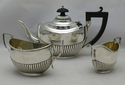 Antique Solid Silver Hallmarked Bachelor Tea Pot,Sugar Bowl and Milk Jug
