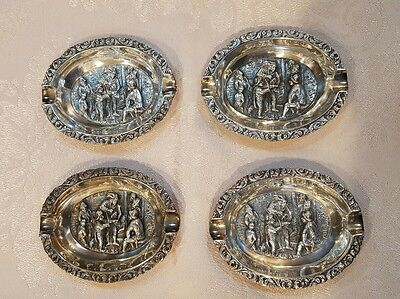Vintage silverplate repousse Zilpa 90 marked ashtrays set of four