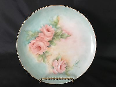 "Vintage Porcelain Hand Painted Peach Roses Floral Plate 8""  Signed Lilliane"
