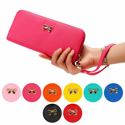 Lady Women PU Leather Zipper Clutch Wallet Long Card Holder Cases Purse Handbag