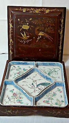 ANTIQUE 19c CHINESE PORCELAIN SWEET MEAT 5 DISH SERVER IN WOOD PAINTED BIRDS BOX